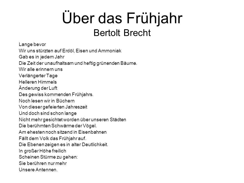 Über das Frühjahr Bertolt Brecht