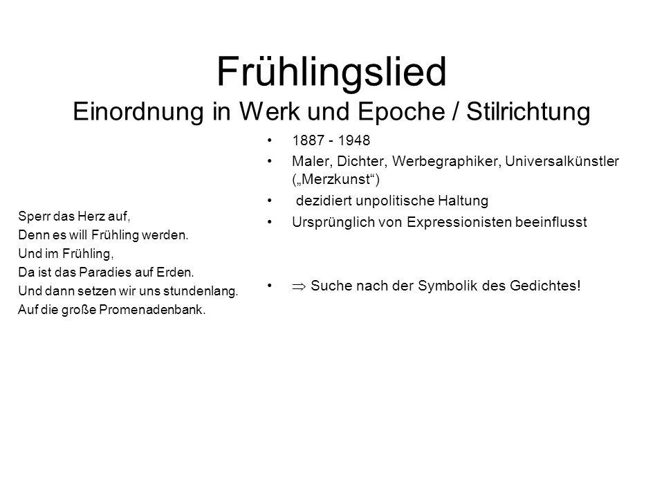 Frühlingslied Einordnung in Werk und Epoche / Stilrichtung