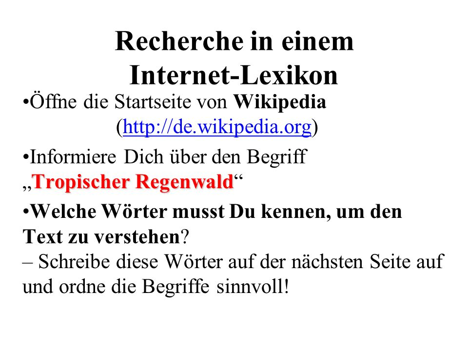 Recherche in einem Internet-Lexikon