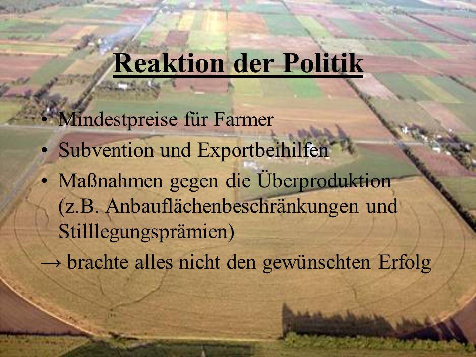 Reaktion der Politik Mindestpreise für Farmer