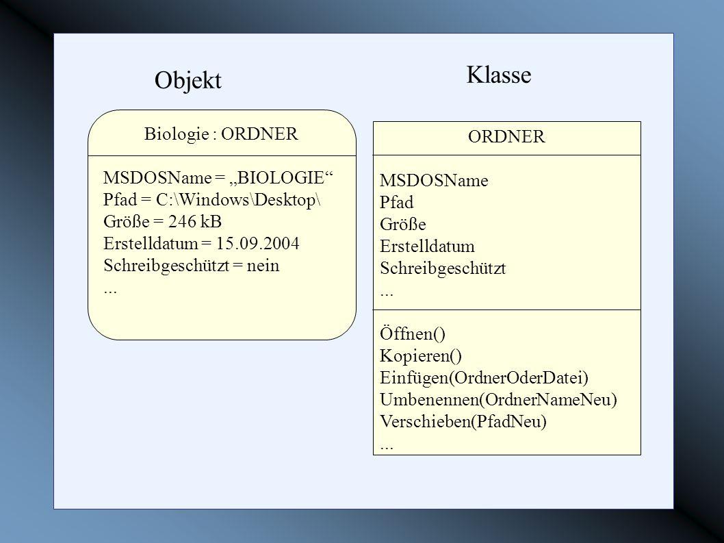 """Klasse Objekt Biologie : ORDNER ORDNER MSDOSName = """"BIOLOGIE"""