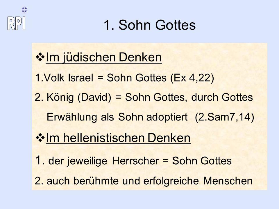 1. Sohn Gottes Im jüdischen Denken Im hellenistischen Denken