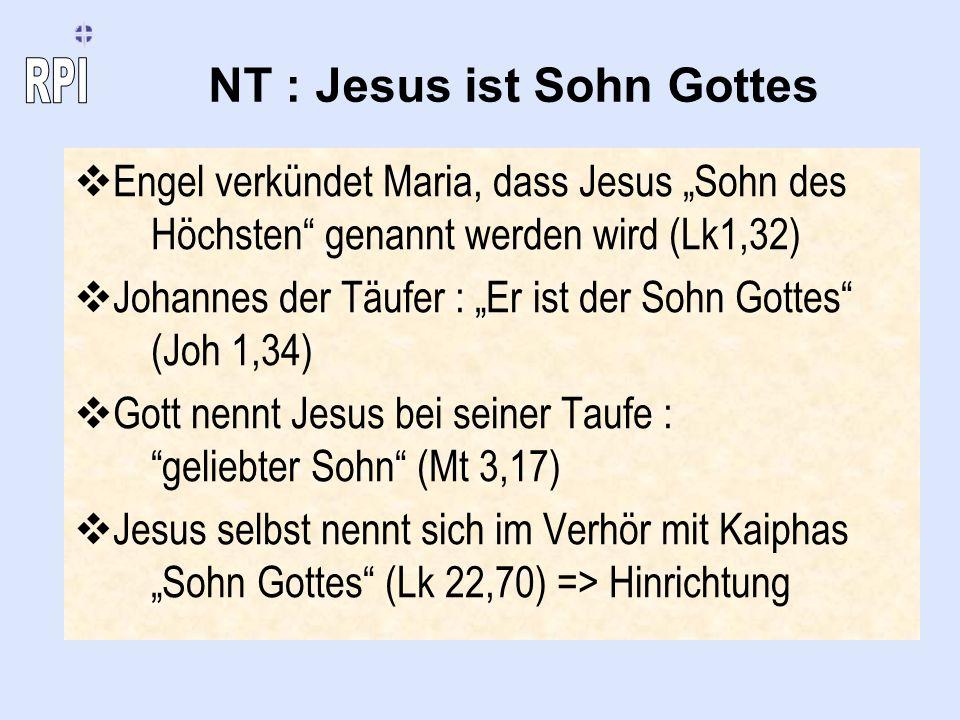 NT : Jesus ist Sohn Gottes