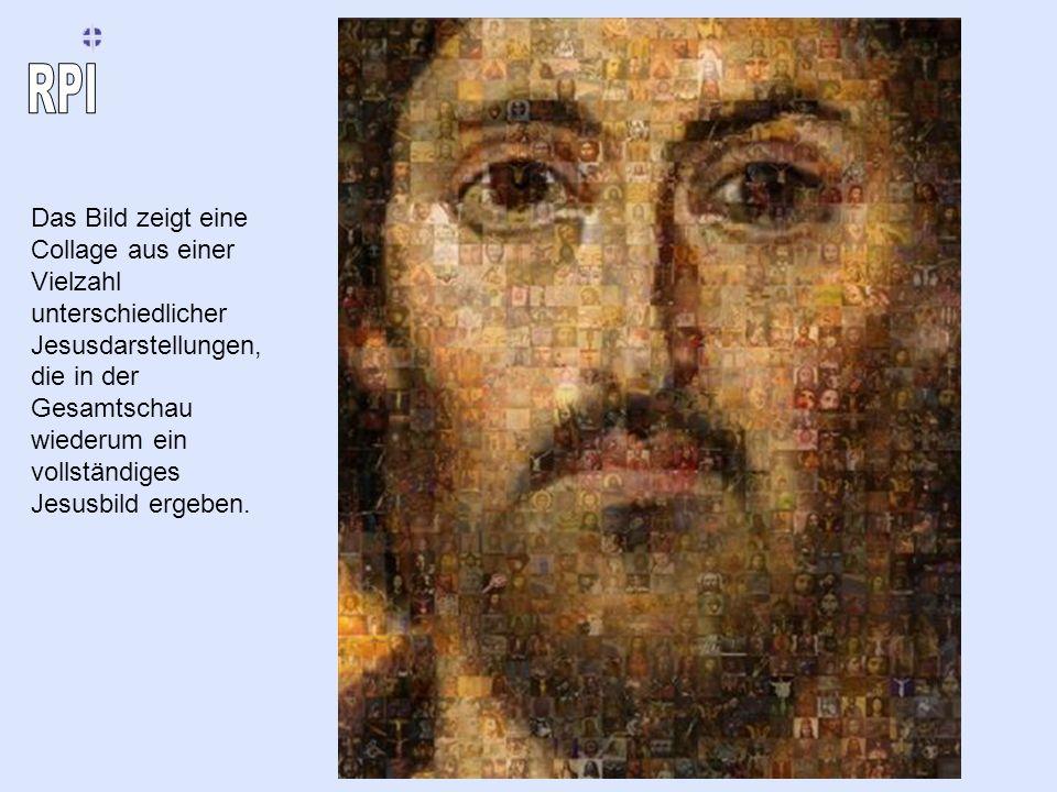 Das Bild zeigt eine Collage aus einer Vielzahl unterschiedlicher Jesusdarstellungen, die in der Gesamtschau wiederum ein vollständiges Jesusbild ergeben.