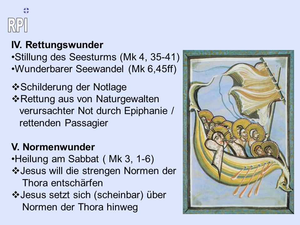 IV. Rettungswunder Stillung des Seesturms (Mk 4, 35-41) Wunderbarer Seewandel (Mk 6,45ff) Schilderung der Notlage.