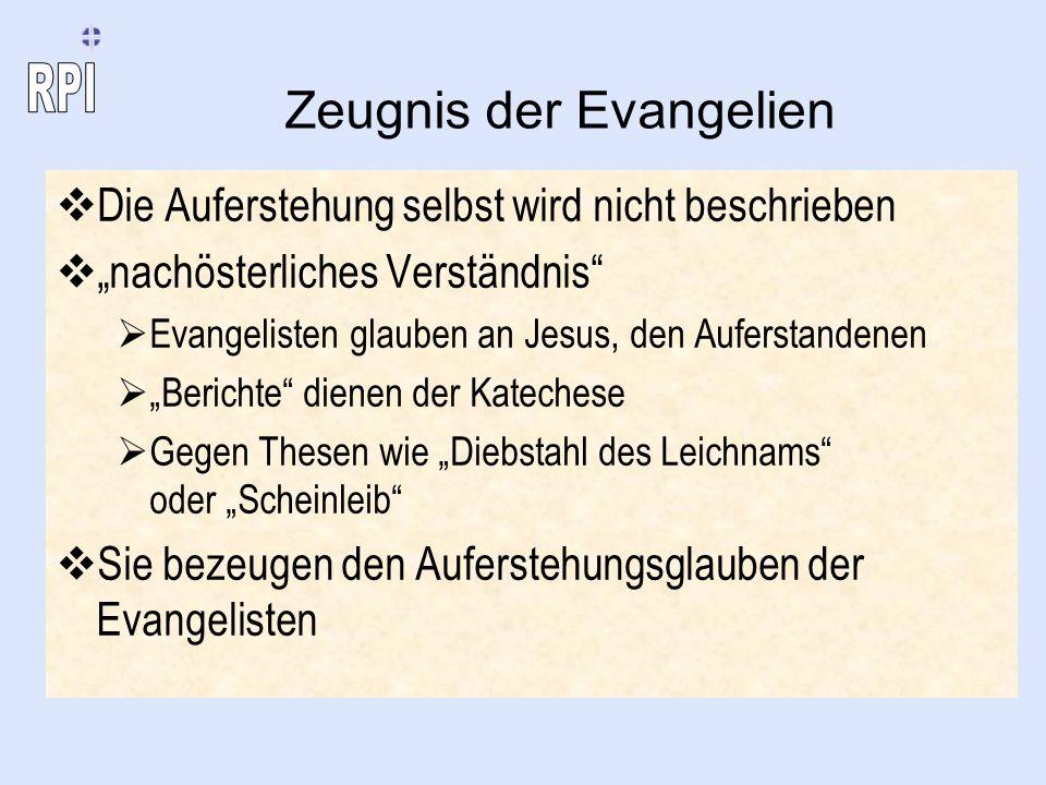Zeugnis der Evangelien