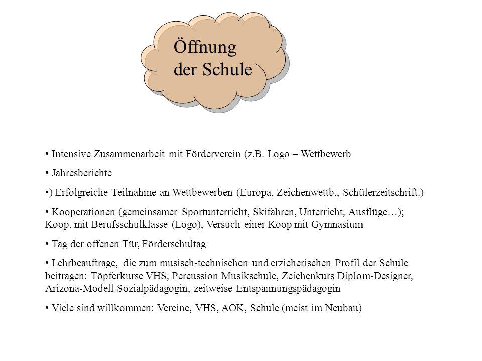 Öffnung der Schule Öffnung der Schule. Intensive Zusammenarbeit mit Förderverein (z.B. Logo – Wettbewerb.
