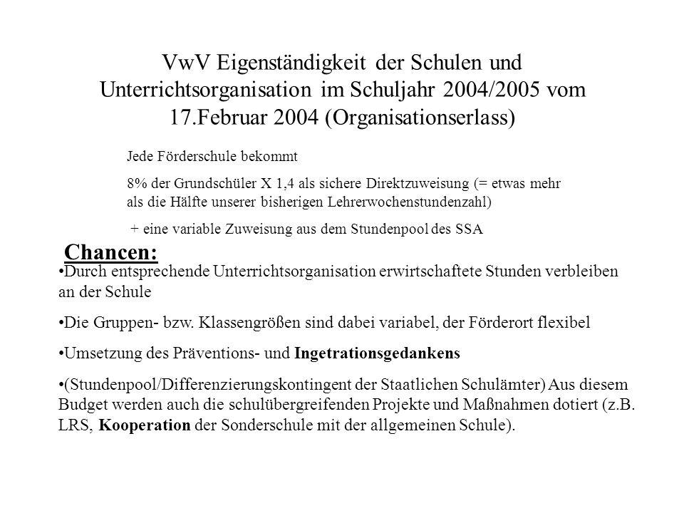 VwV Eigenständigkeit der Schulen und Unterrichtsorganisation im Schuljahr 2004/2005 vom 17.Februar 2004 (Organisationserlass)