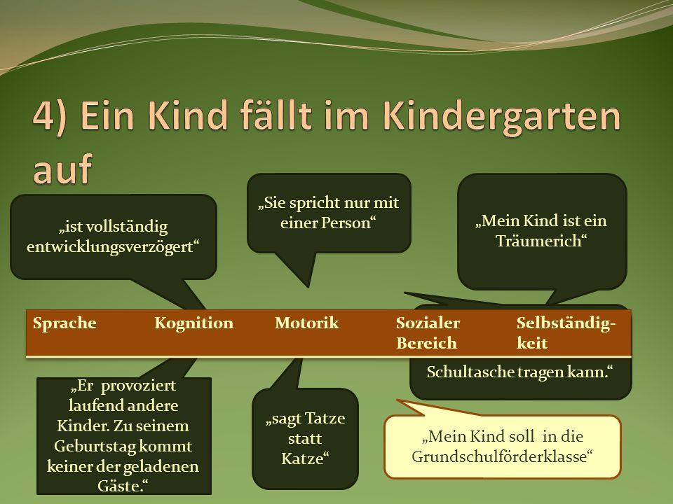 4) Ein Kind fällt im Kindergarten auf