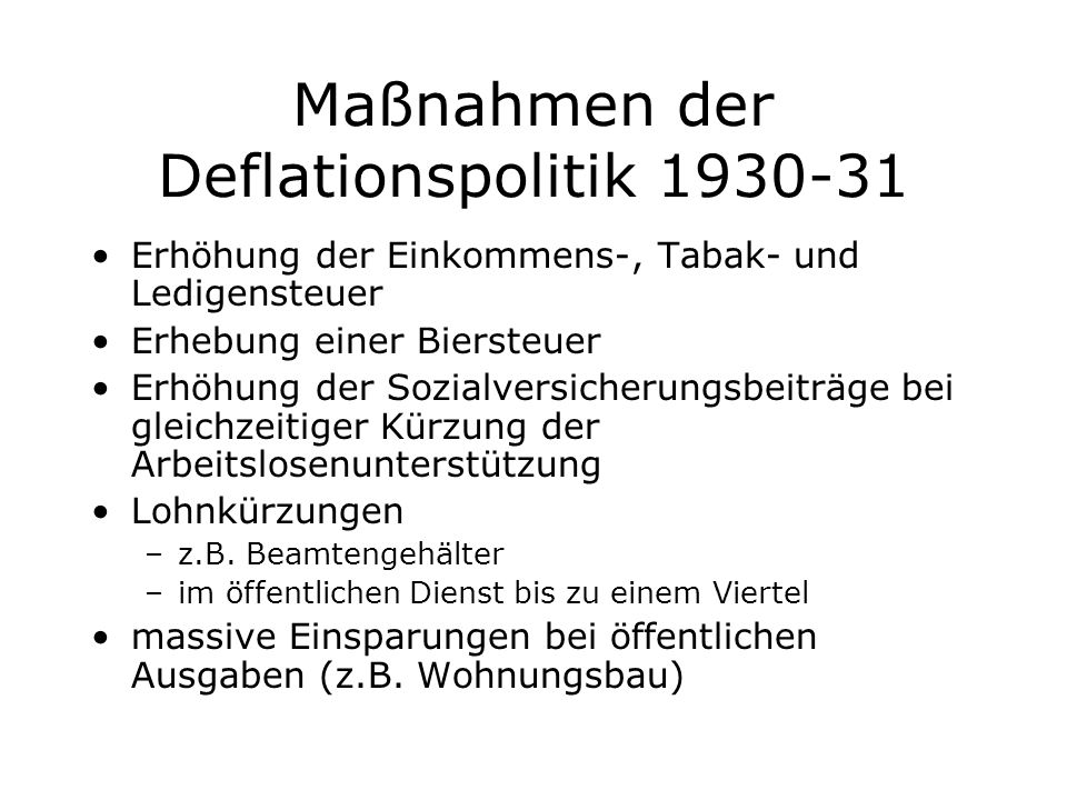 Maßnahmen der Deflationspolitik 1930-31