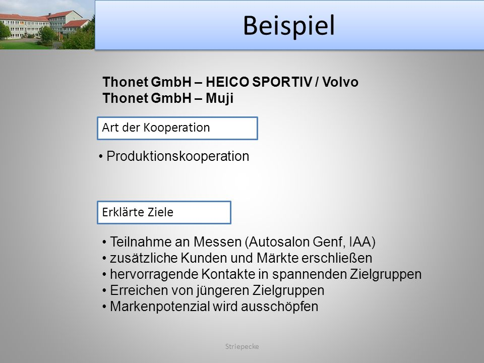 Beispiel Thonet GmbH – HEICO SPORTIV / Volvo Thonet GmbH – Muji