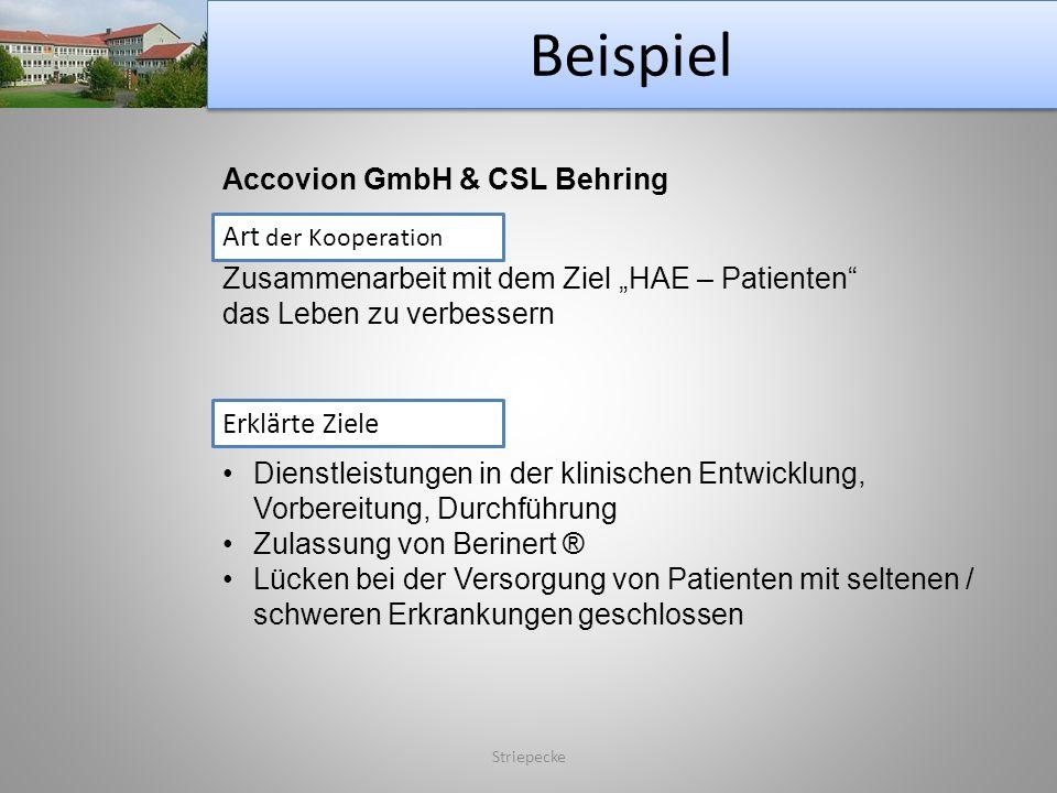 Beispiel Accovion GmbH & CSL Behring Art der Kooperation