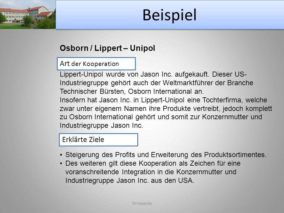 Beispiel Osborn / Lippert – Unipol Art der Kooperation Erklärte Ziele