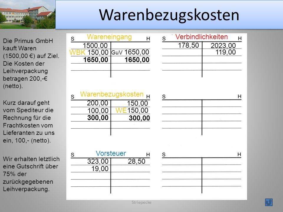 Warenbezugskosten Wareneingang Verbindlichkeiten 1500,00 178,50