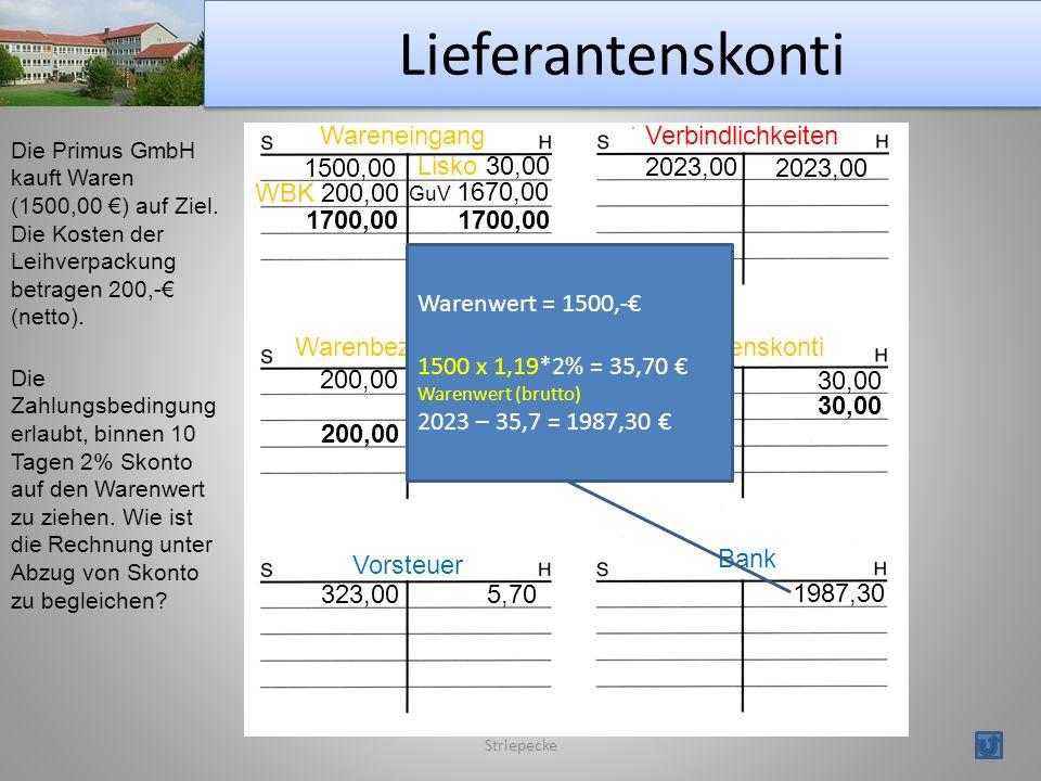 Lieferantenskonti Wareneingang Verbindlichkeiten 1500,00 Lisko 30,00