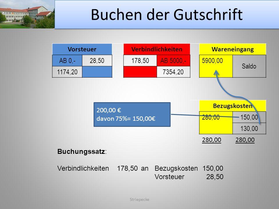 Buchen der Gutschrift Vorsteuer Verbindlichkeiten Wareneingang AB 0,-