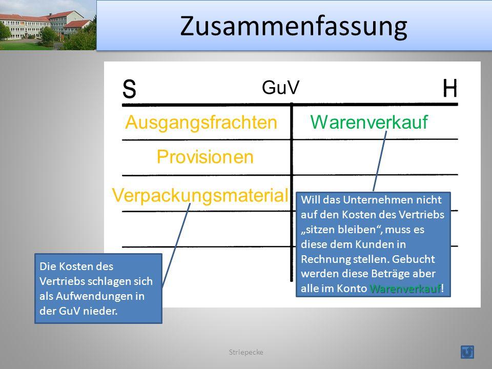 Zusammenfassung GuV Ausgangsfrachten Warenverkauf Provisionen