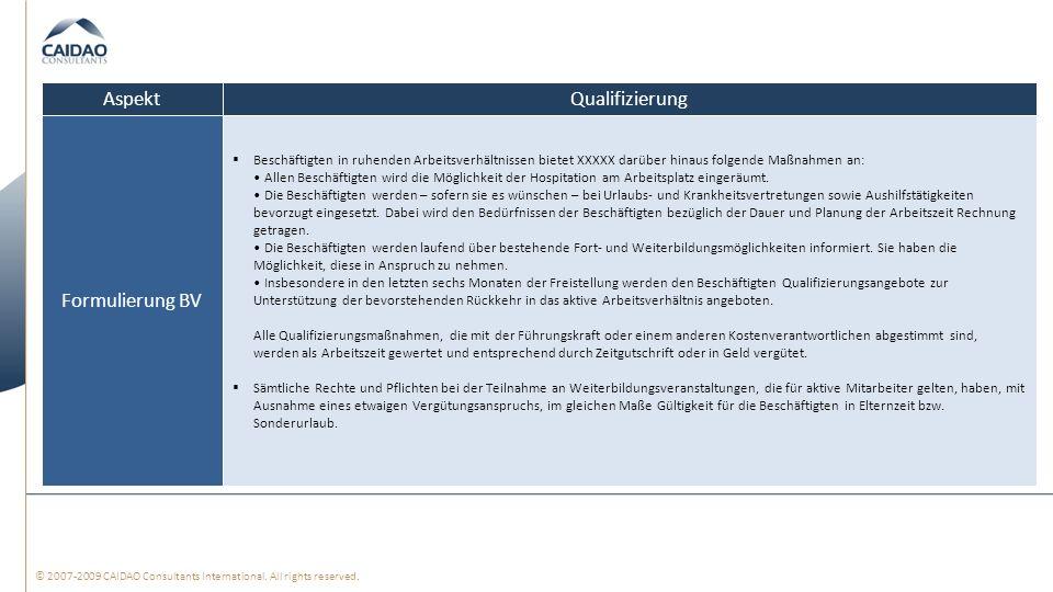 Aspekt Qualifizierung Formulierung BV