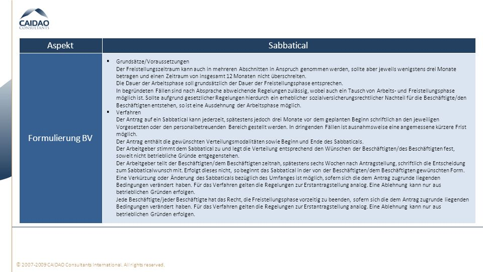 Aspekt Sabbatical Formulierung BV Grundsätze/Voraussetzungen