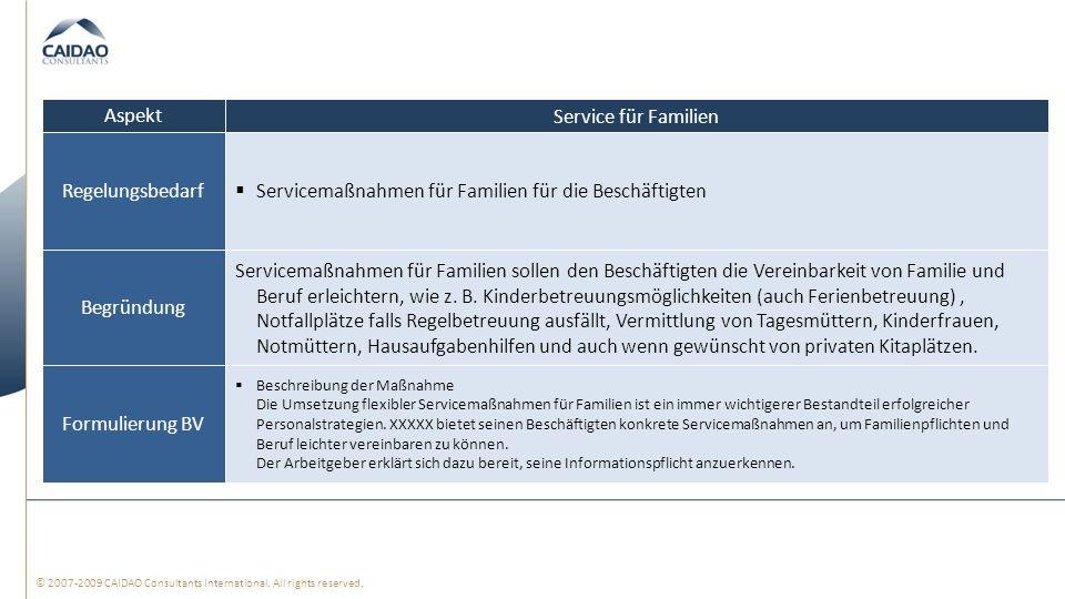 Servicemaßnahmen für Familien für die Beschäftigten