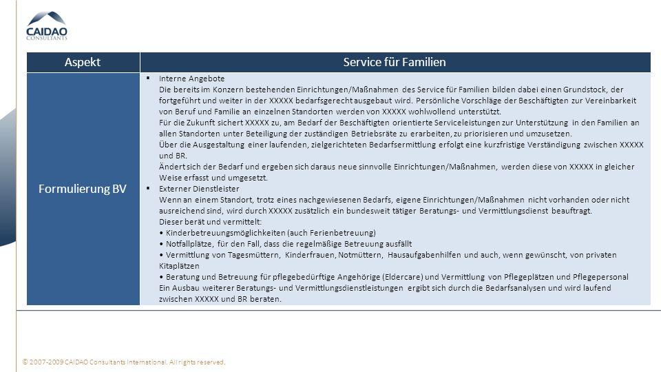 Aspekt Service für Familien Formulierung BV Interne Angebote