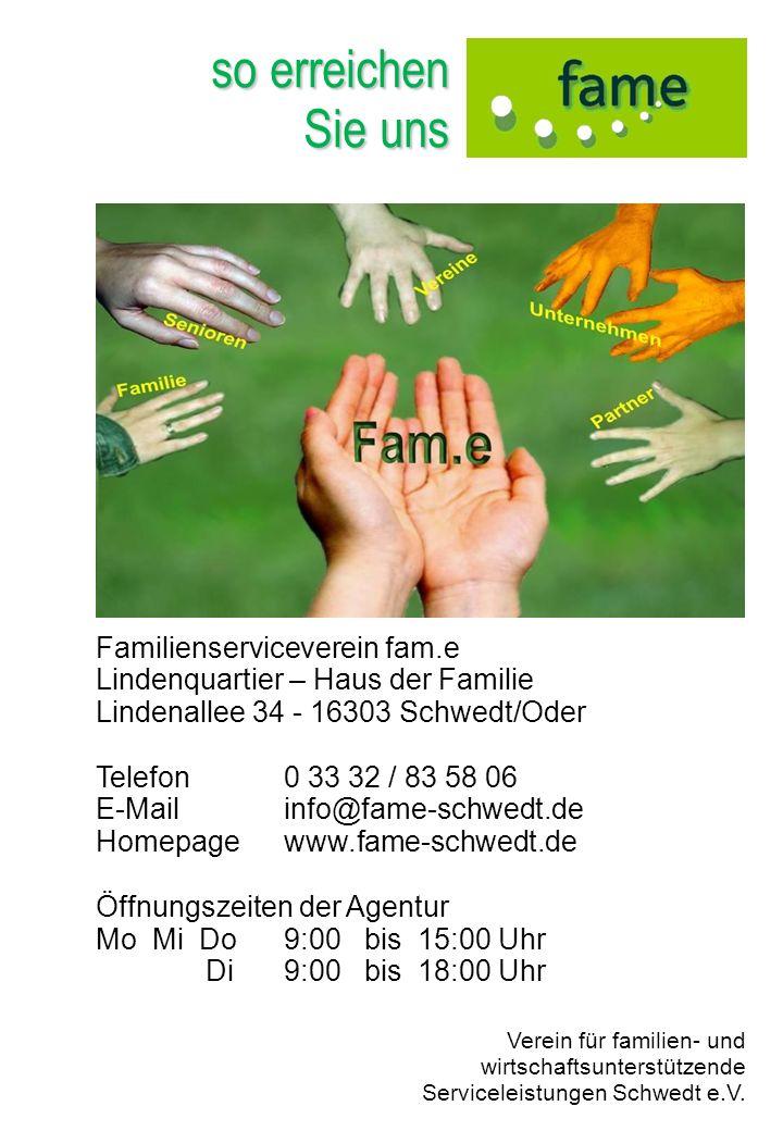 so erreichen Sie uns Familienserviceverein fam.e