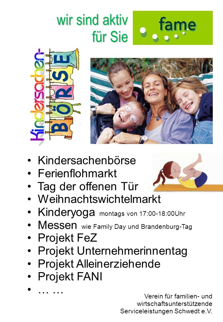 wir sind aktiv für Sie Kindersachenbörse Ferienflohmarkt
