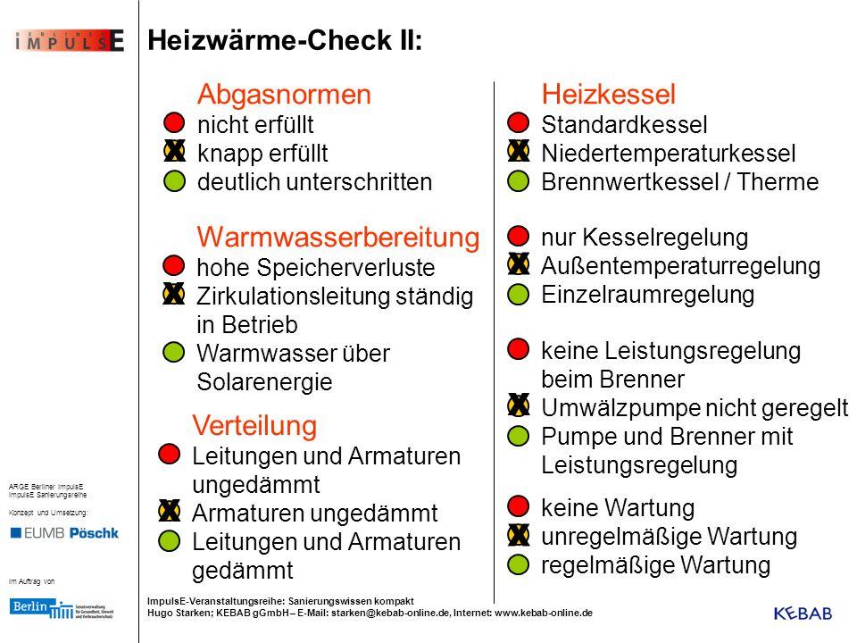 Heizwärme-Check II: Abgasnormen Heizkessel Warmwasserbereitung