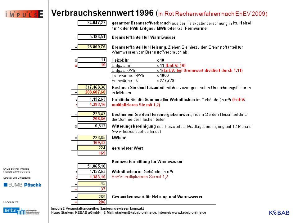 Verbrauchskennwert 1996 (in Rot Rechenverfahren nach EnEV 2009)