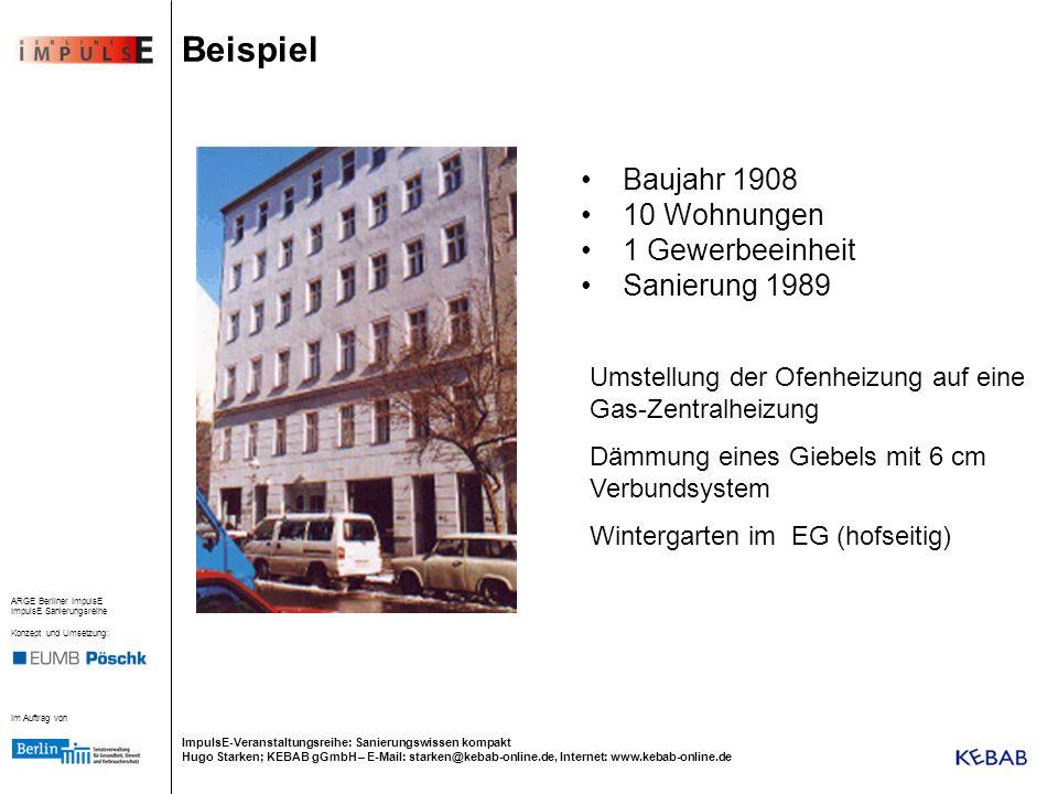 Beispiel Baujahr 1908 10 Wohnungen 1 Gewerbeeinheit Sanierung 1989
