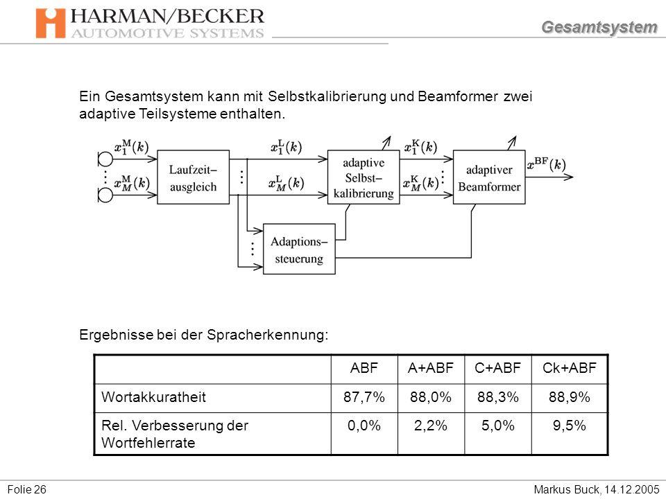 Gesamtsystem Ein Gesamtsystem kann mit Selbstkalibrierung und Beamformer zwei adaptive Teilsysteme enthalten.