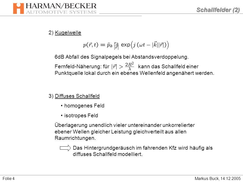 Schallfelder (2) 2) Kugelwelle
