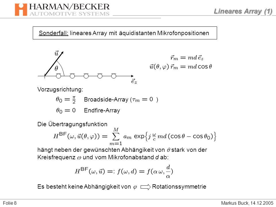 Lineares Array (1) Sonderfall: lineares Array mit äquidistanten Mikrofonpositionen. Broadside-Array ( )