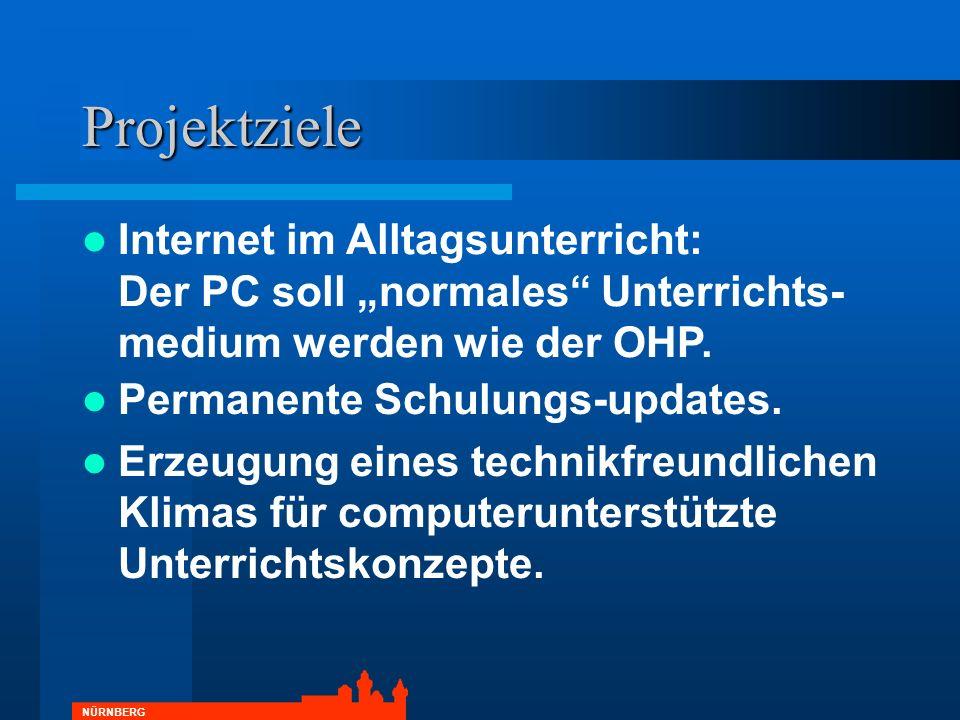 """Projektziele Internet im Alltagsunterricht: Der PC soll """"normales Unterrichts-medium werden wie der OHP."""