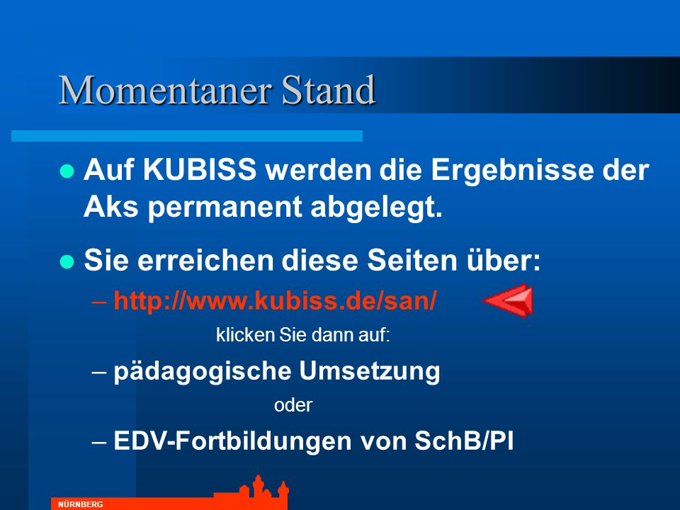 Momentaner Stand Auf KUBISS werden die Ergebnisse der Aks permanent abgelegt. Sie erreichen diese Seiten über: