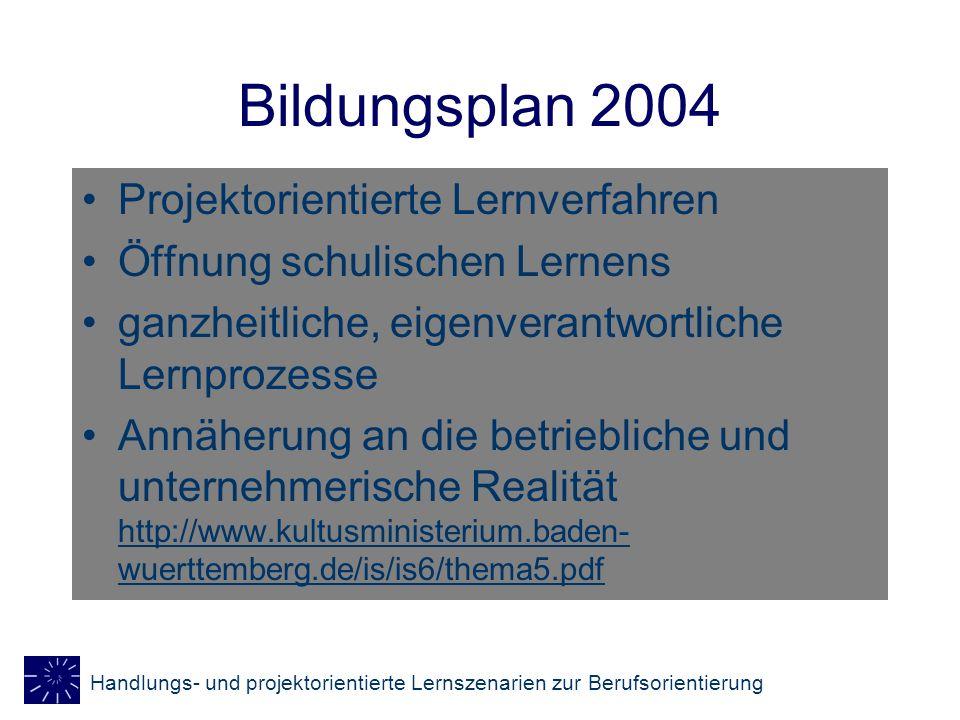 Bildungsplan 2004 Projektorientierte Lernverfahren
