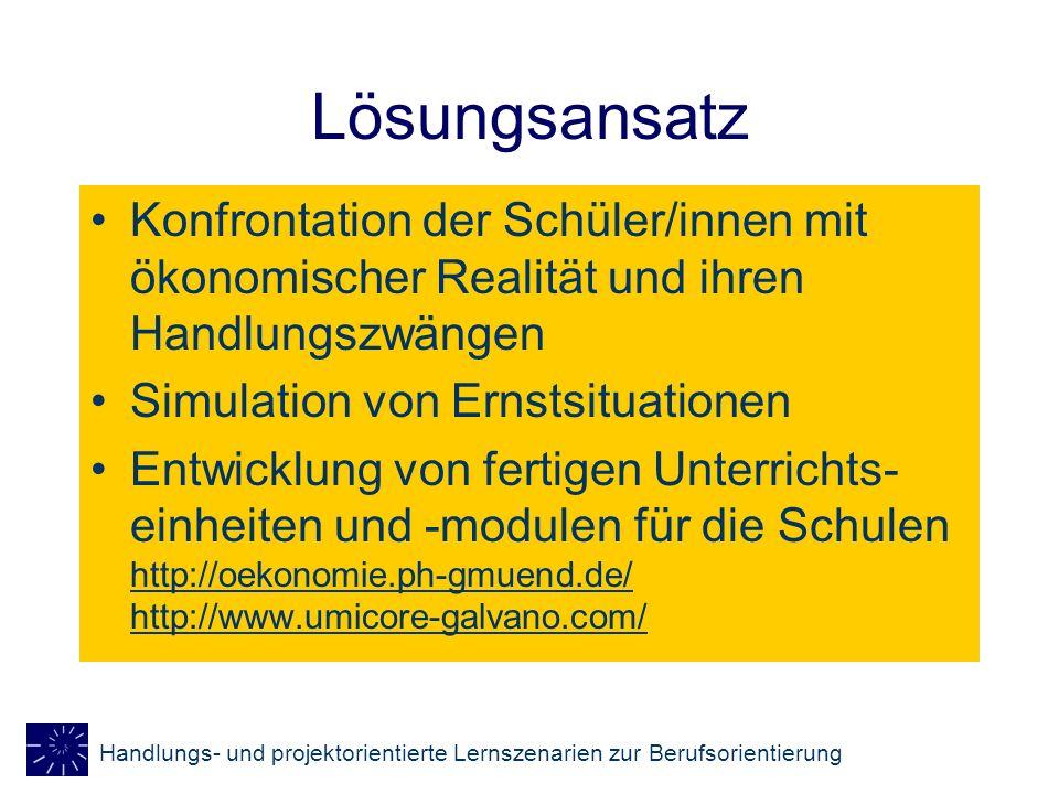 LösungsansatzKonfrontation der Schüler/innen mit ökonomischer Realität und ihren Handlungszwängen. Simulation von Ernstsituationen.