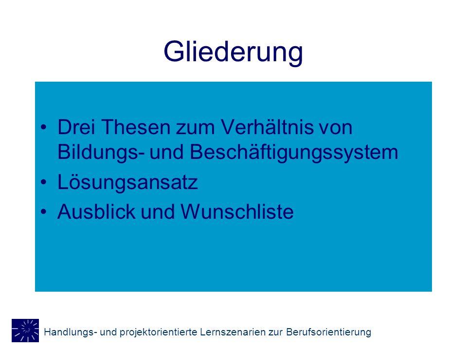 Gliederung Drei Thesen zum Verhältnis von Bildungs- und Beschäftigungssystem.