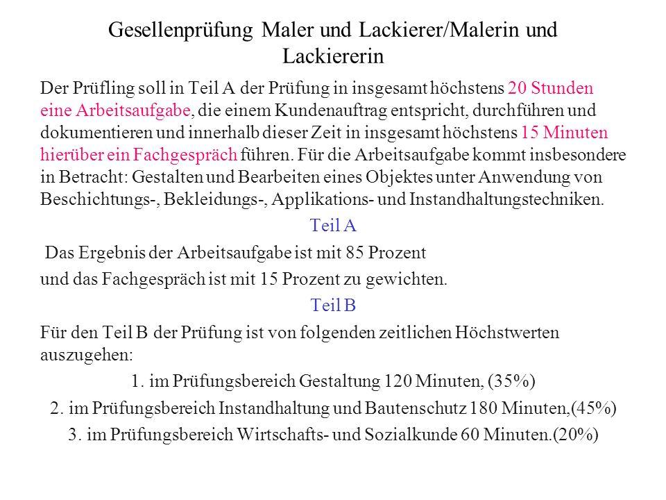 Gesellenprüfung Maler und Lackierer/Malerin und Lackiererin