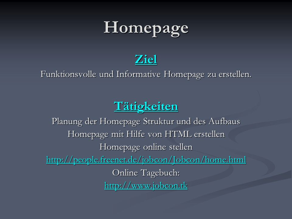 Homepage Ziel Tätigkeiten