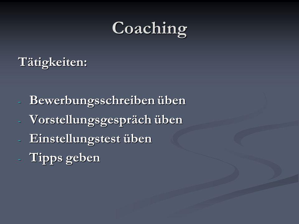 Coaching Tätigkeiten: Bewerbungsschreiben üben