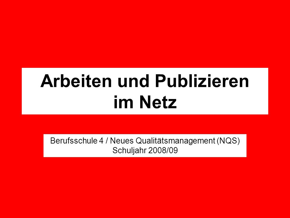 Arbeiten und Publizieren im Netz