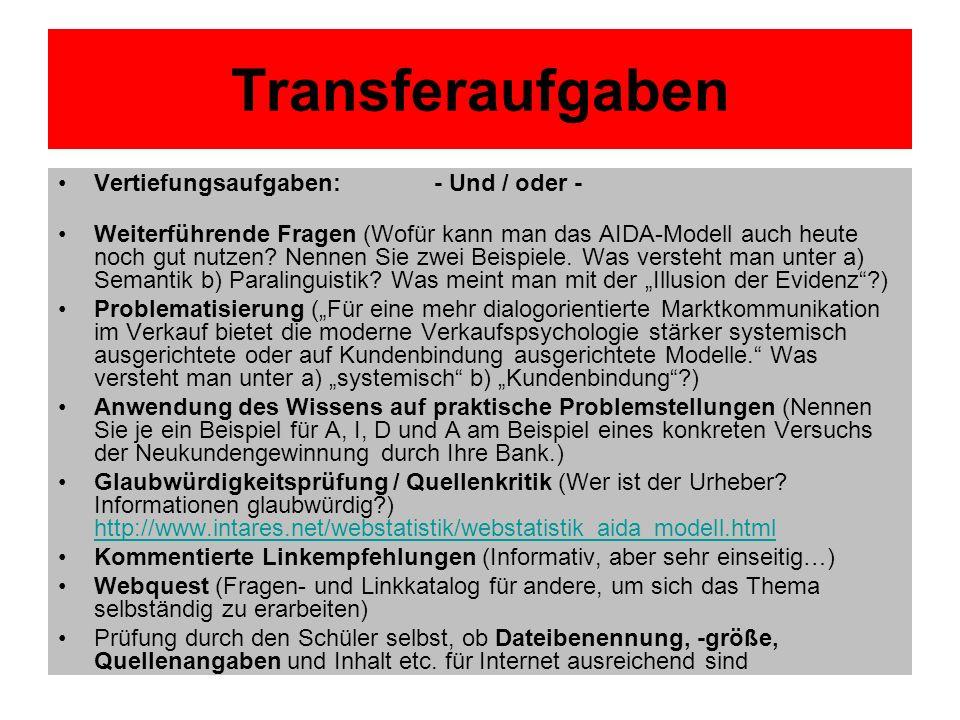 Transferaufgaben Vertiefungsaufgaben: - Und / oder -