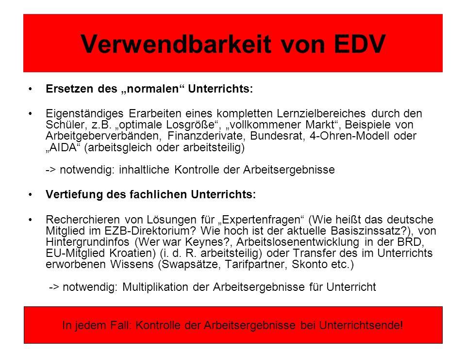 Verwendbarkeit von EDV