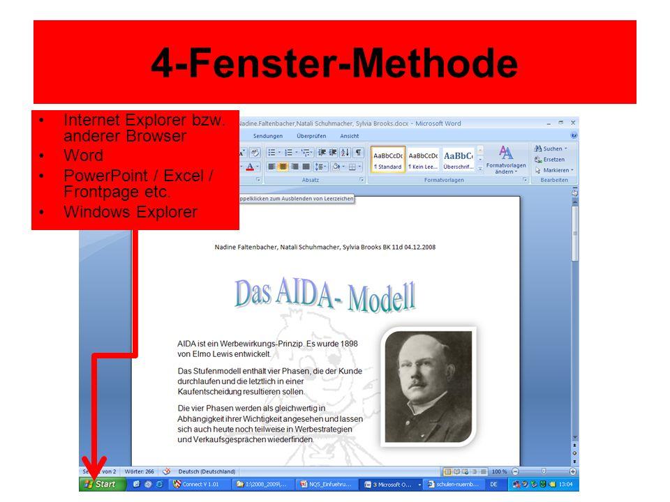 4-Fenster-Methode Internet Explorer bzw. anderer Browser Word