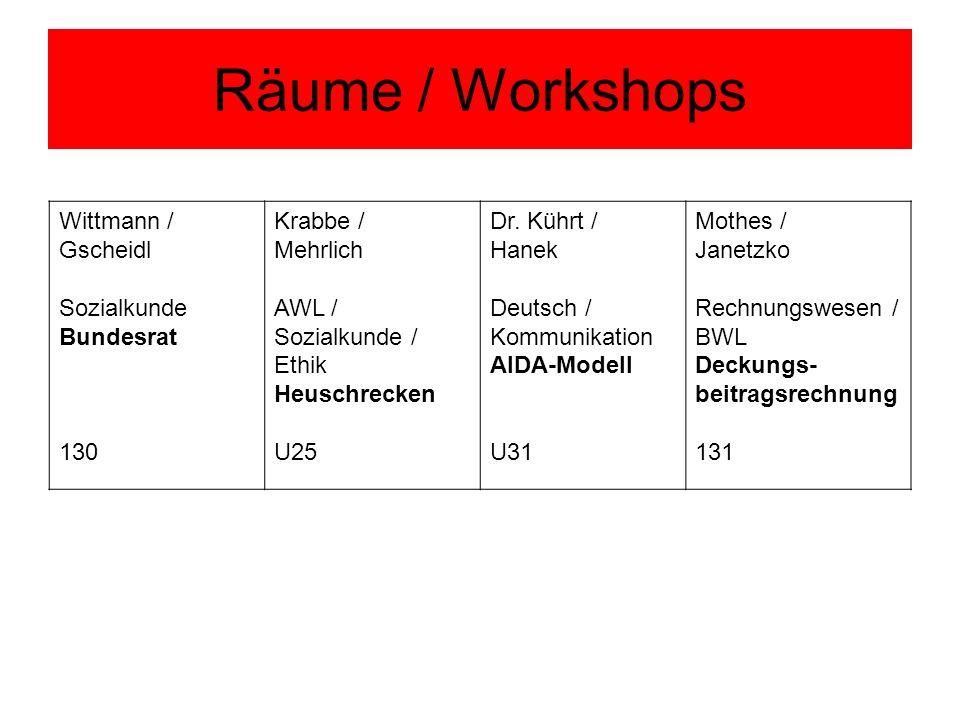 Räume / Workshops Wittmann / Gscheidl Sozialkunde Bundesrat 130