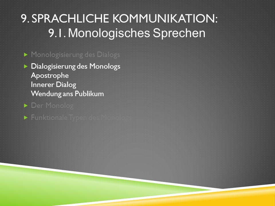 9. Sprachliche Kommunikation: 9.1. Monologisches Sprechen