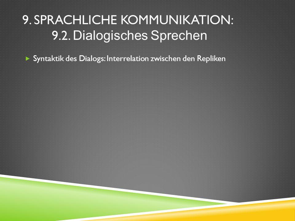9. Sprachliche Kommunikation: 9.2. Dialogisches Sprechen