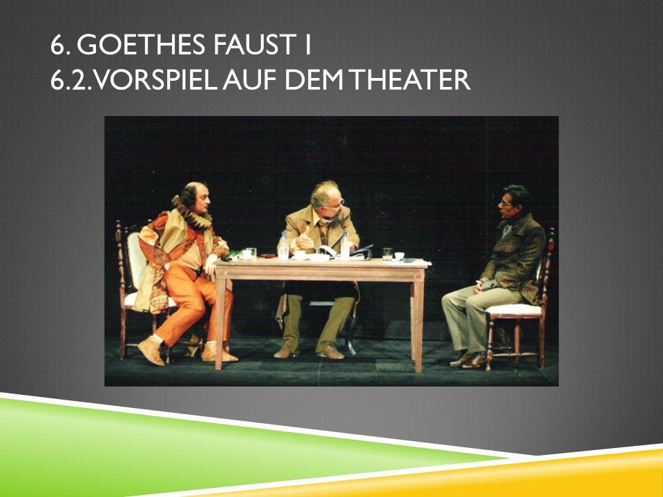 6. Goethes Faust I 6.2. Vorspiel auf dem Theater