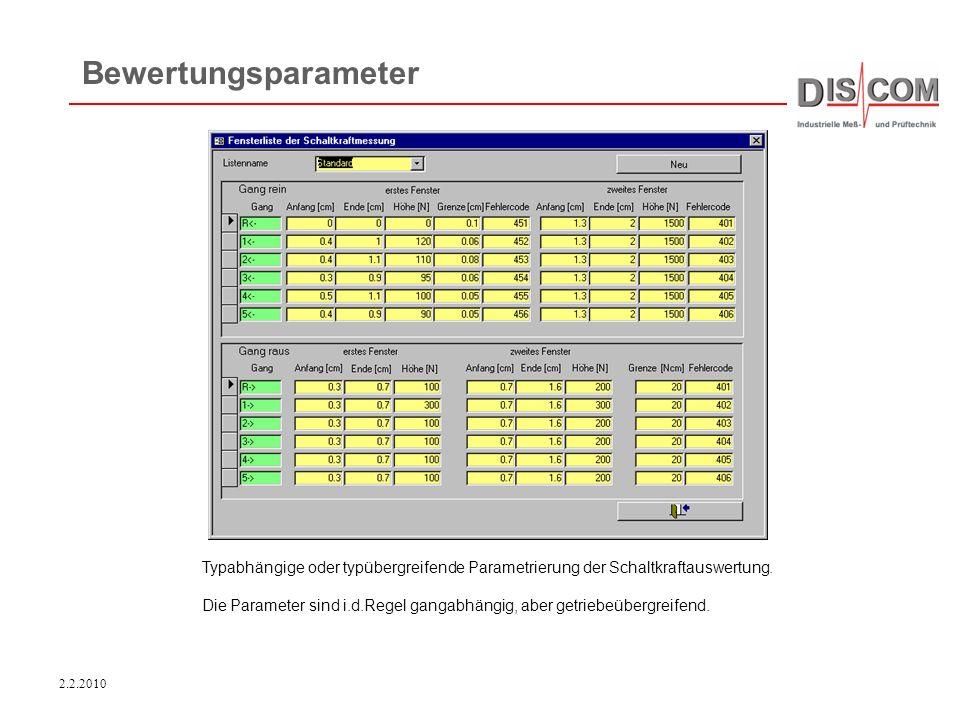 Bewertungsparameter Typabhängige oder typübergreifende Parametrierung der Schaltkraftauswertung.